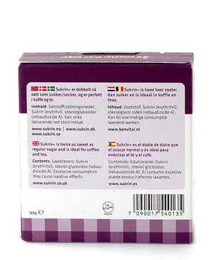 Sukrin Plus Natural Sweetener Sachets Granulated 0 Cal Twice as Sweet