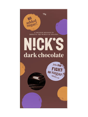 Nicks Sugar-Free Dark Chocolate Naturally Sweetened with only 1g sugar