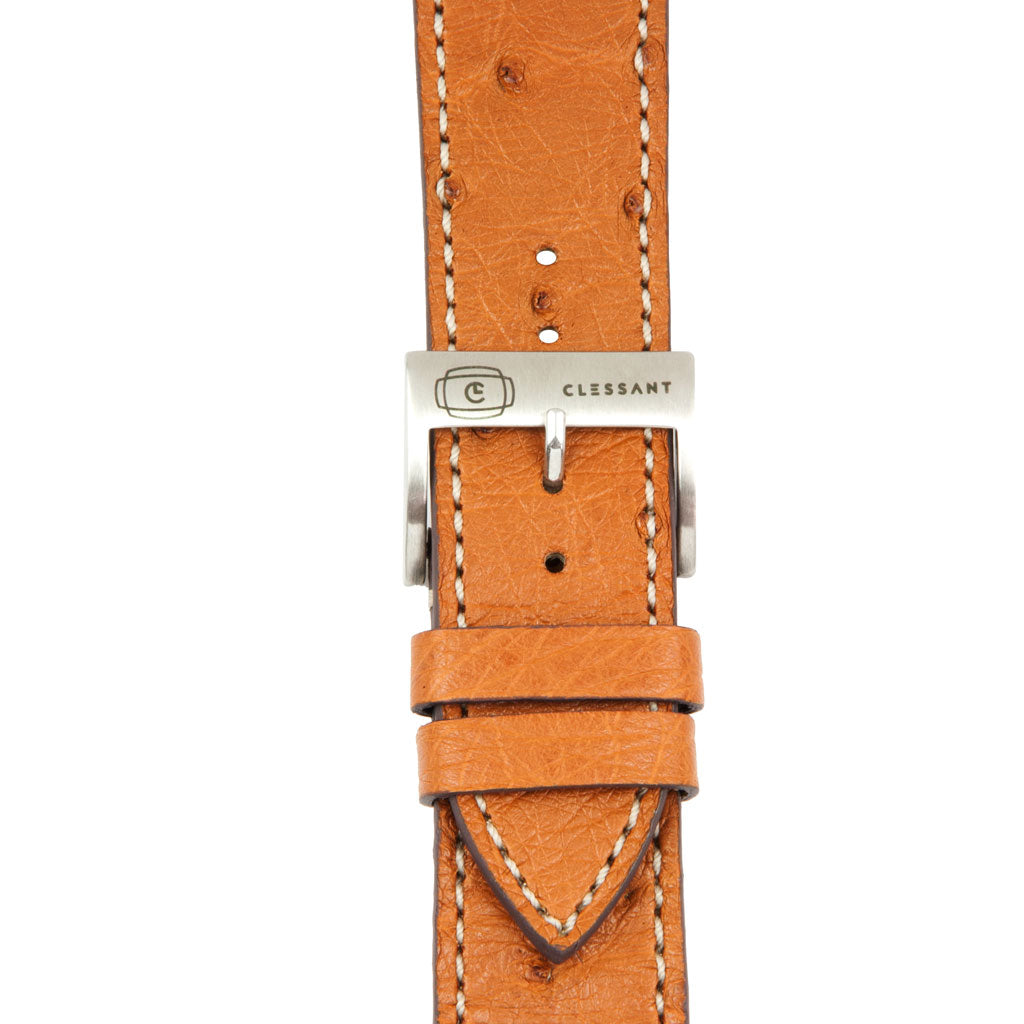 Gold Ostrich Leather Strap,  Classic Leather,- Clessant France