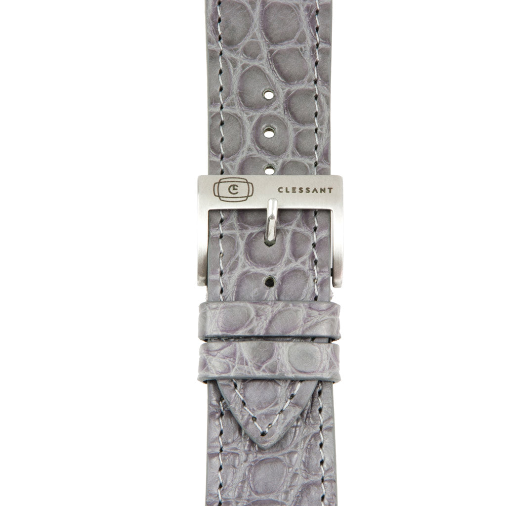 Grey Alligator Leather Strap,  Classic Leather,- Clessant France