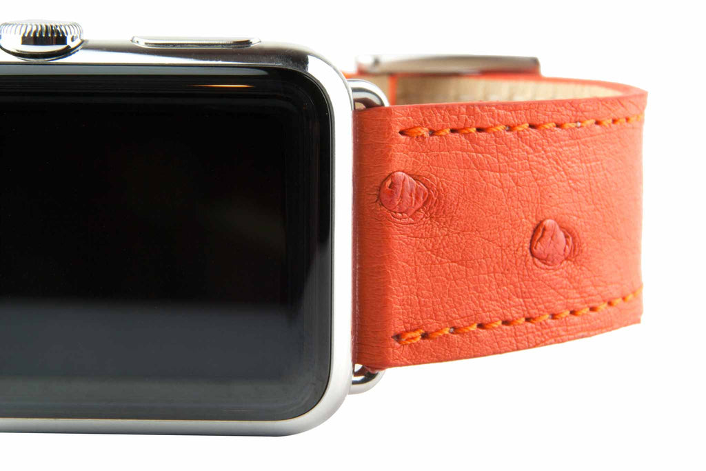 Orange Ostrich Leather Strap,  Classic Leather,- Clessant France