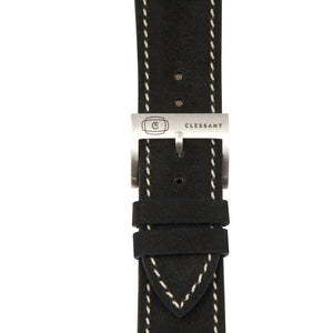 "Black ""Nubuck"" Suede Leather Strap,  Classic Leather,- Clessant France"