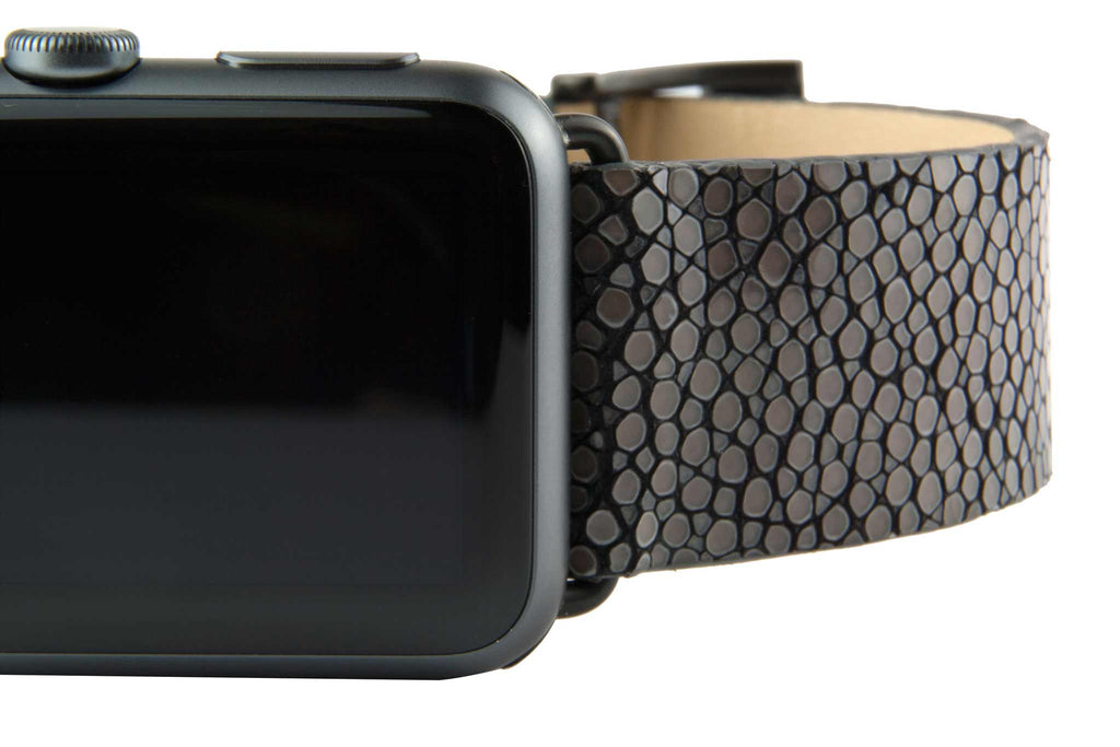 Black Galuchat Stingray Leather Strap,  Classic Leather,- Clessant France