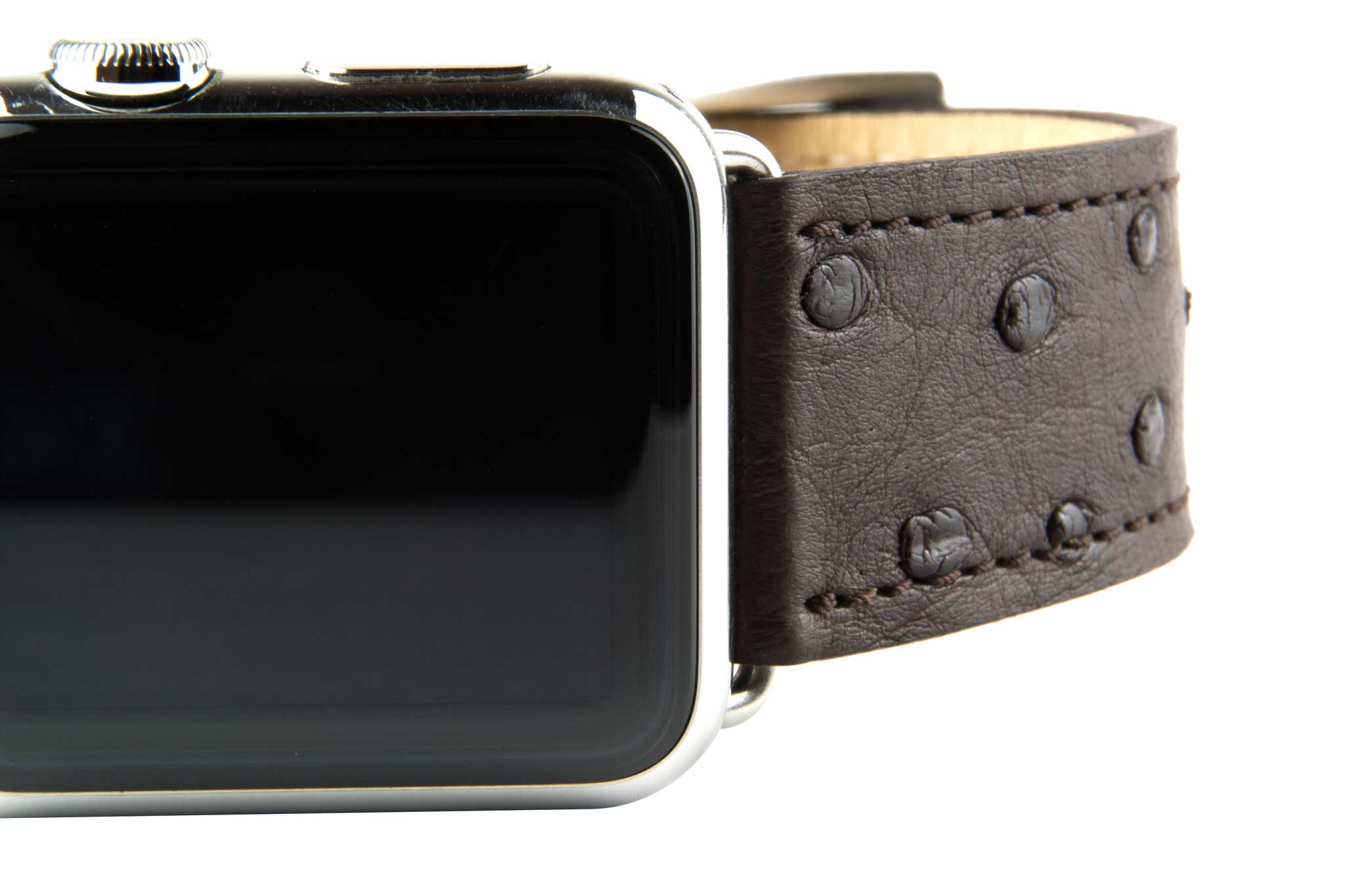 Chocolate Ostrich Leather Strap,  Classic Leather,- Clessant France