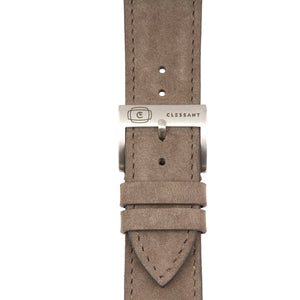 "Taupe ""Nubuck"" Suede Leather Strap,  Classic Leather,- Clessant France"