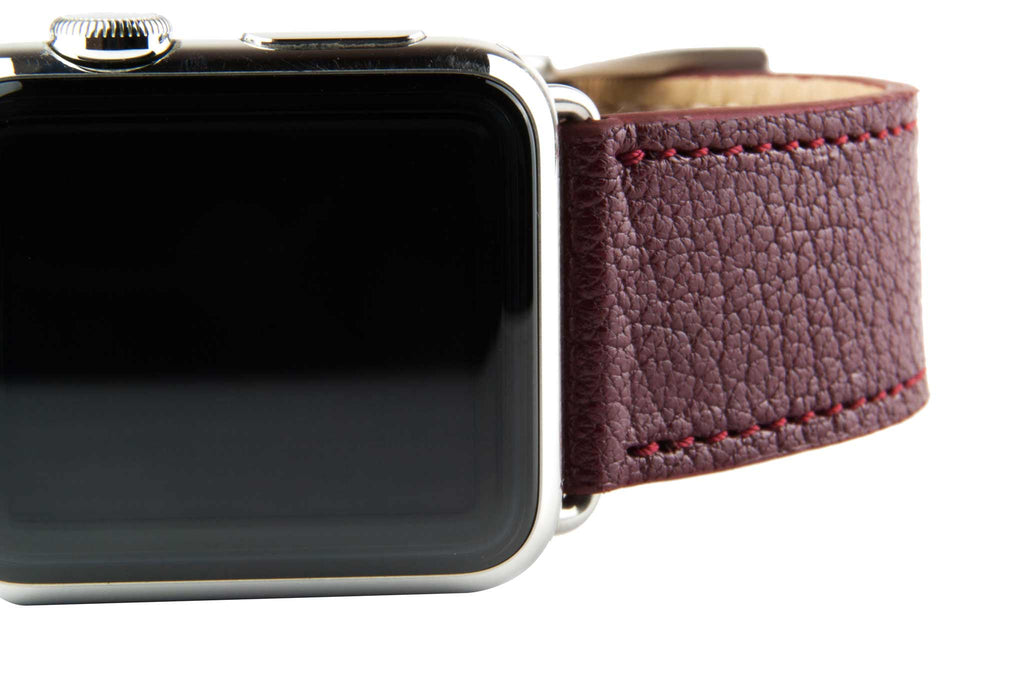 Burgundy Madras Goat Leather Strap,  Classic Leather,- Clessant France