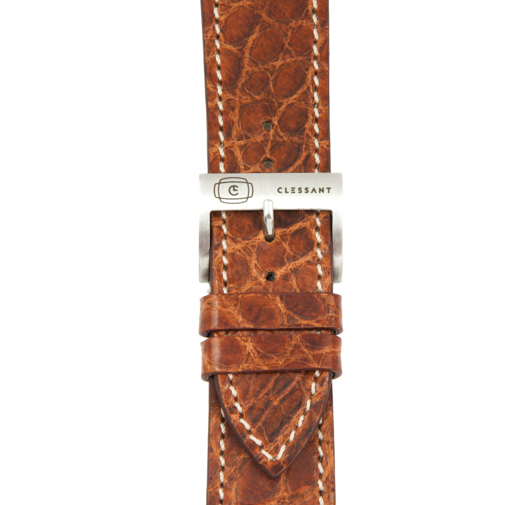 Gold Alligator Leather Strap,  Classic Leather,- Clessant France