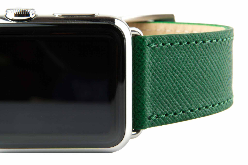 Green Embossed Russian Calf Leather Strap,  Classic Leather,- Clessant France