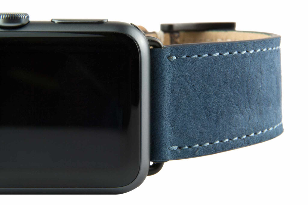 "Blue ""Nubuck"" Suede Leather Strap,  Classic Leather,- Clessant France"