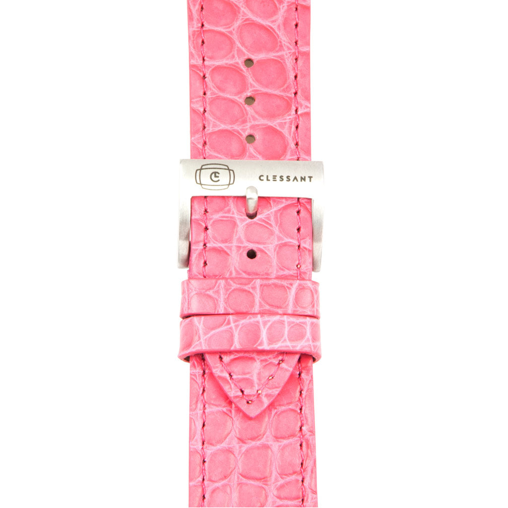 Pink Alligator Leather Strap,  Classic Leather,- Clessant France