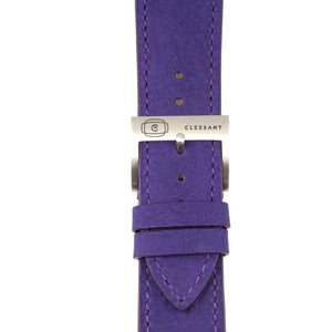 "Purple ""Nubuck"" Suede Leather Strap,  Classic Leather,- Clessant France"