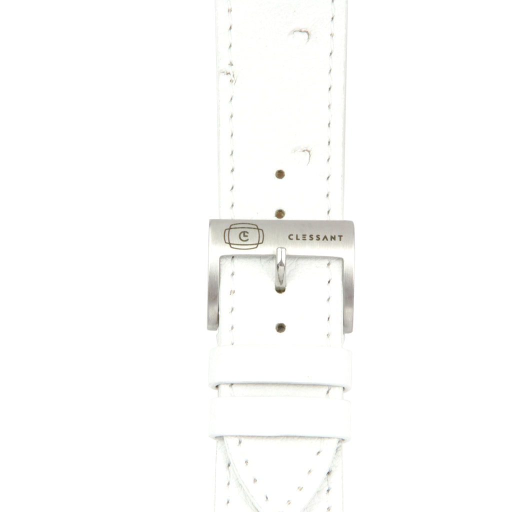 White Ostrich Leather Strap,  Classic Leather,- Clessant France