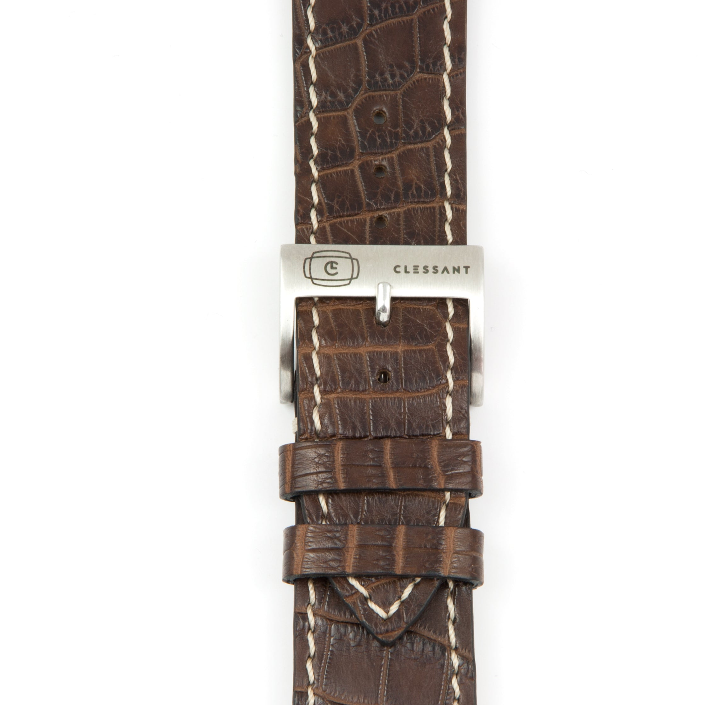 Hand Stiched Chocolate Alligator Leather Strap MTO,  MTO,- Clessant France