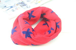 Children Cotton O Ring Scarf for Girls Boys Five Stars Knitted Woolen