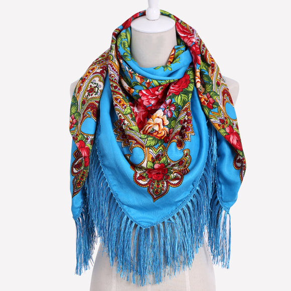 Fashion Big Size Square Scarf Cotton Long Tassel Print Scarf