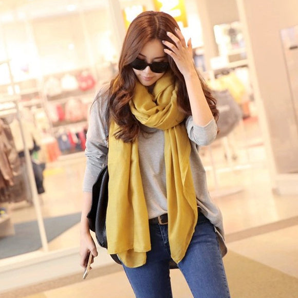 Fashion Designer Solid long Cotton Blend Casual Scarf Women Scarves