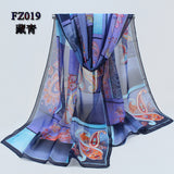 women scarf polyester geometric pattern design long soft silk shawl