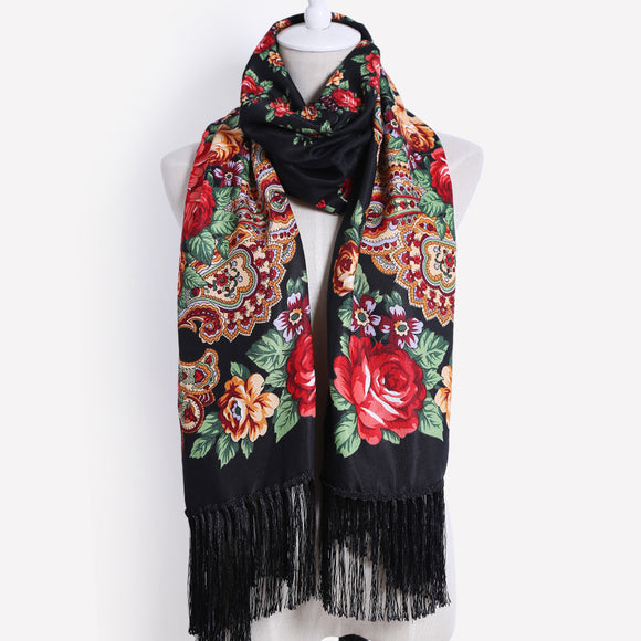 high quality Female printing long tassel winter wrapped scarf