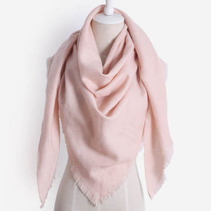 Women Cashmere  Fashion Warm Solid color Triangle Shawl