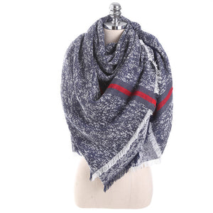Winter Scarf Women Solid Color Stitching Cashmere Blanket Warm Scarves