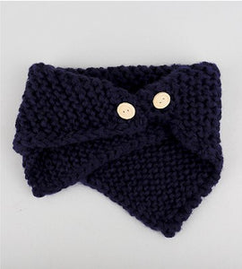 Children Fashion Knitted Button Scarves Boys Girls Cotton Neck Warmer