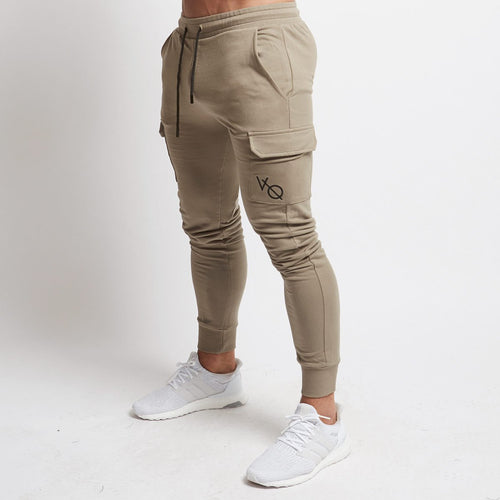 KHAKI TAPERED CARGO SWEATPANTS