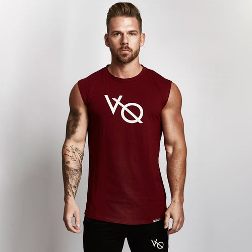 BURGUNDY SLEEVELESS T SHIRT