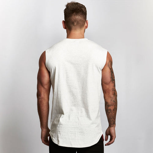 WHITE SLEEVELESS T SHIRT
