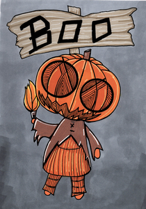 Pumpkin Head Print