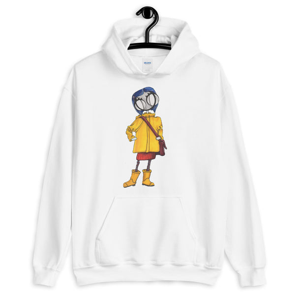 Coraline Jones art hoodie in white by hannah arthur