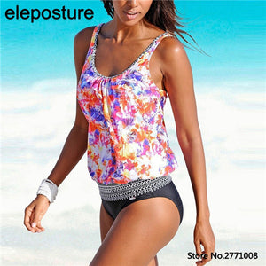 Women Tanktop Set Vintage Print High Waist Bathing Suits - The Fashion Shop