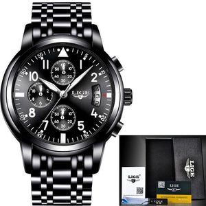 relogio masculino LIGE Mens Watches Top Brand Luxury Fashion Business Quartz Watch Men Sport Full Steel Waterproof Black Clock - The Fashion Shop