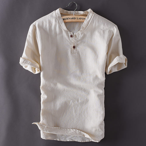 Mens Pullover Linen Short Sleeve Shirt