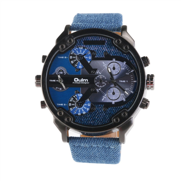Oulm 3548 Men's Boys Big Round Dial Dual Time Display Quartz Wrist Watch with Cloth Band - The Fashion Shop