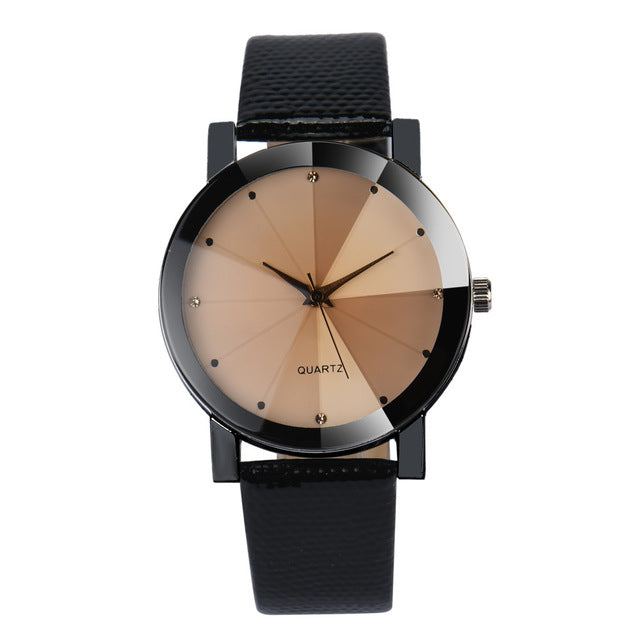 Steel Dial Leather Band Wristwatch - The Fashion Shop