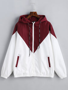 Autumn Fashion Hooded Two Tone Windbreaker Jacket - The Fashion Shop
