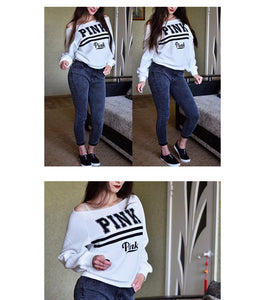Pink Letter Print Sweatshirt Knitted Long Sleeve Pullovers - The Fashion Shop