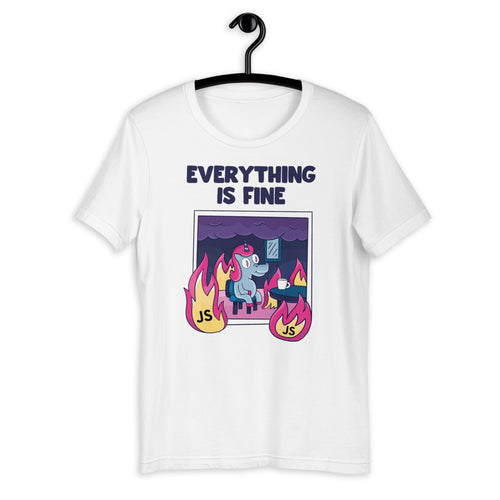 Everything Is Fine JavaScript Short-Sleeve Unisex T-Shirt