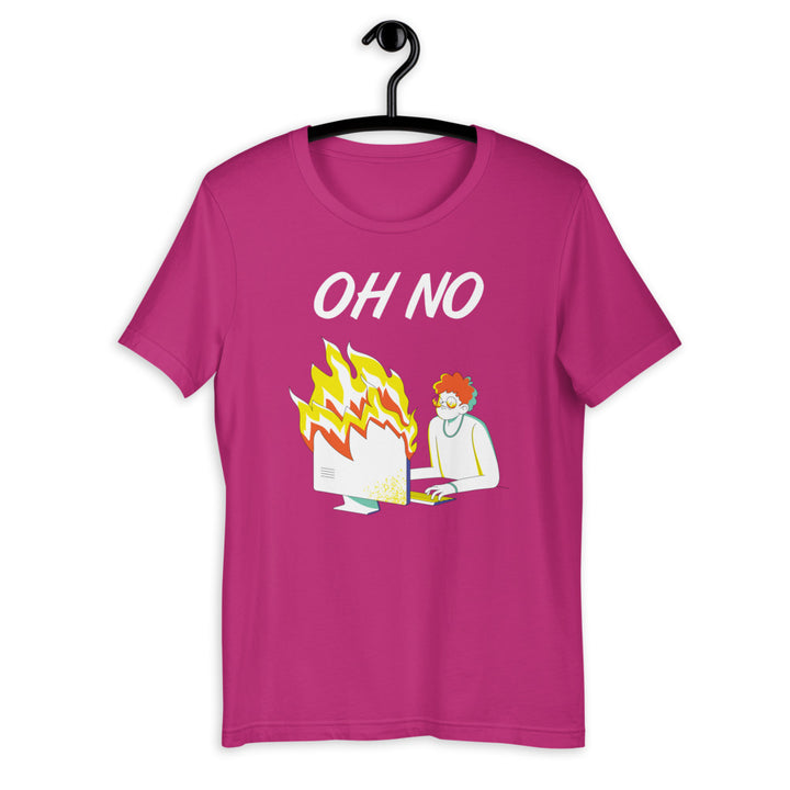 Oh No (Burning Computer) Short-Sleeve Unisex T-Shirt