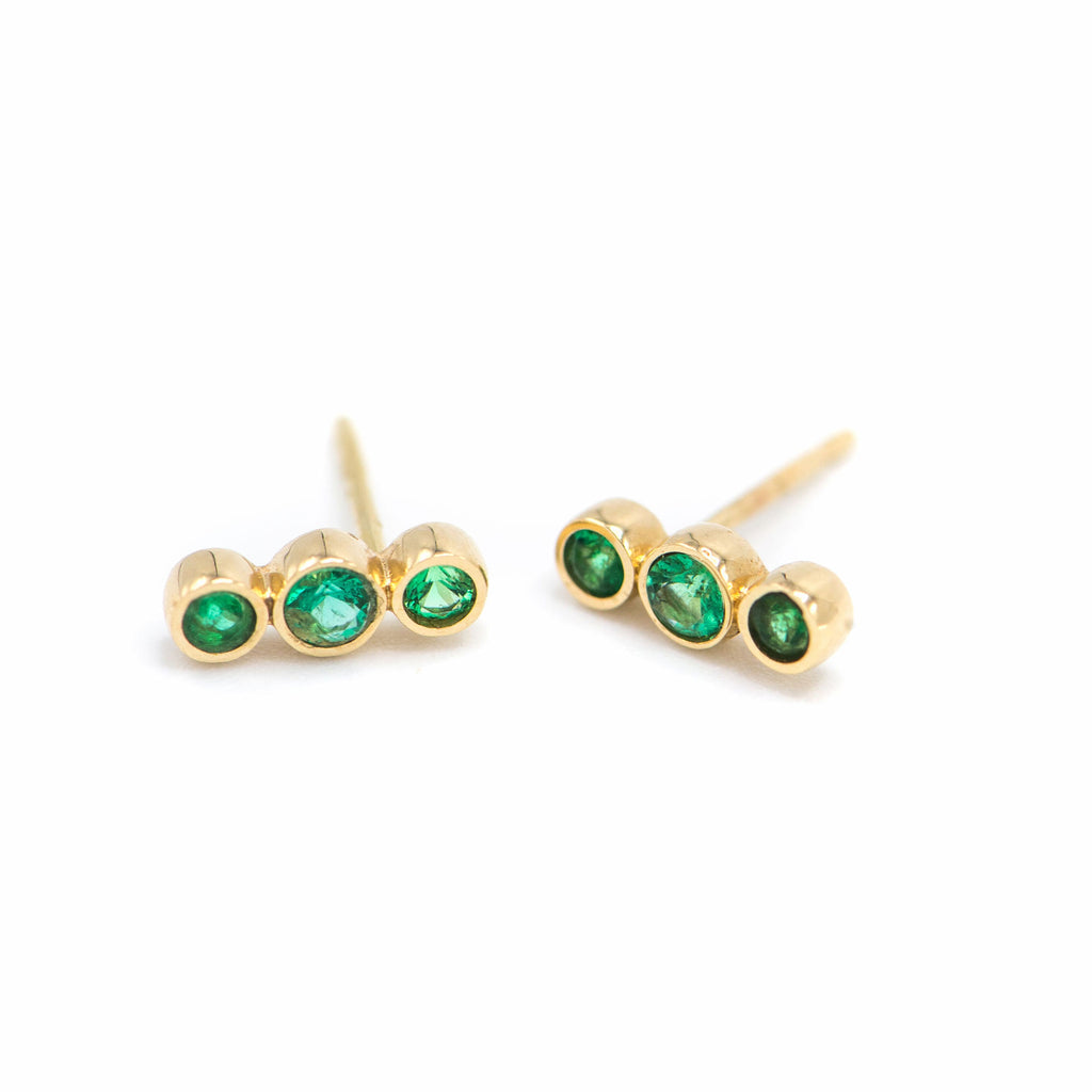 Three bezel emerald earring