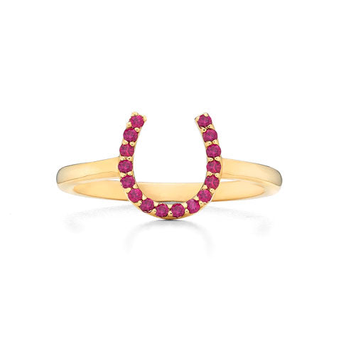 Yellow Gold Ruby Horseshoe Ring