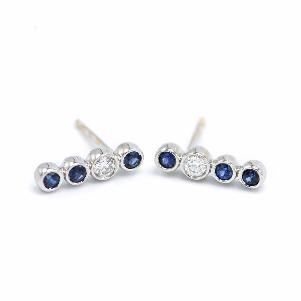 sapphire diamond four bezel earrings