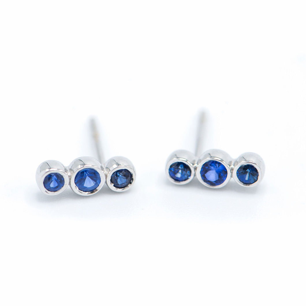 Sapphire Three Bezel Earrings