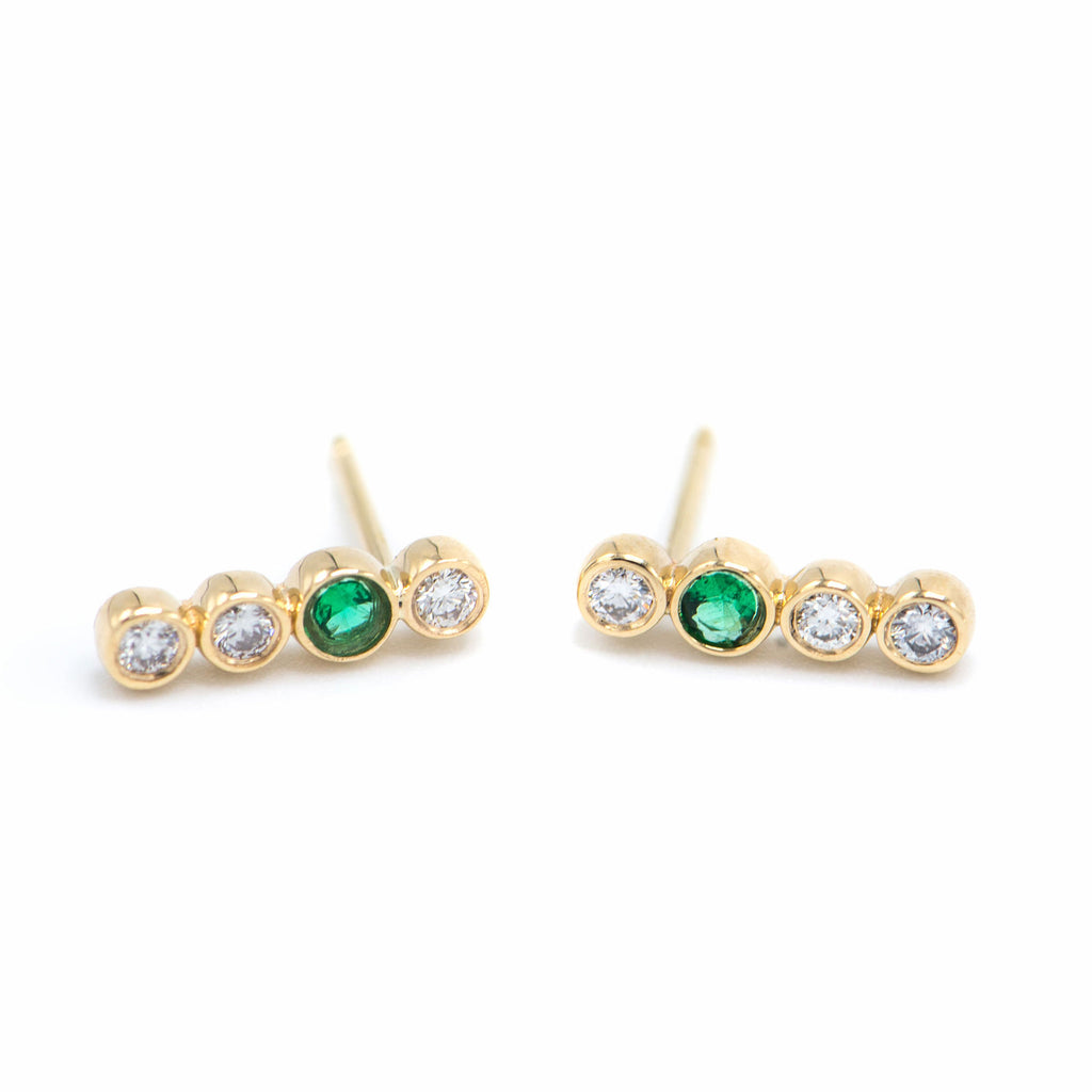Diamond + Emerald Four Bezel Earring