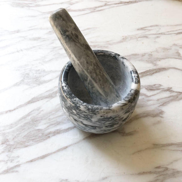 Marble Mortar and Pestle - Grey/White
