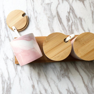 Pink Marble Canisters