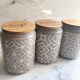 Set of 3 Geometric Canisters - Grey