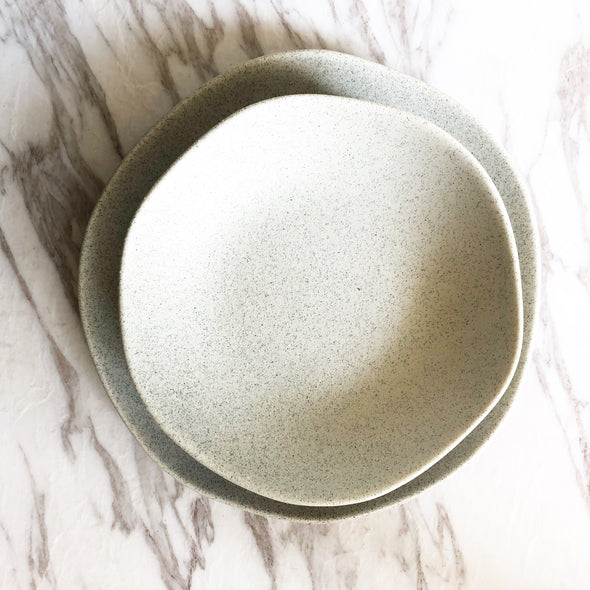 White Granite Feel Dinner Plate Set