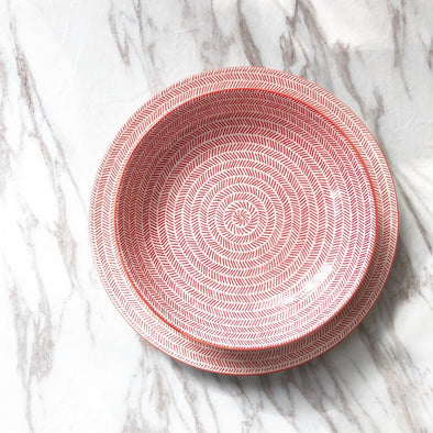 Red Chevron Dining Plate