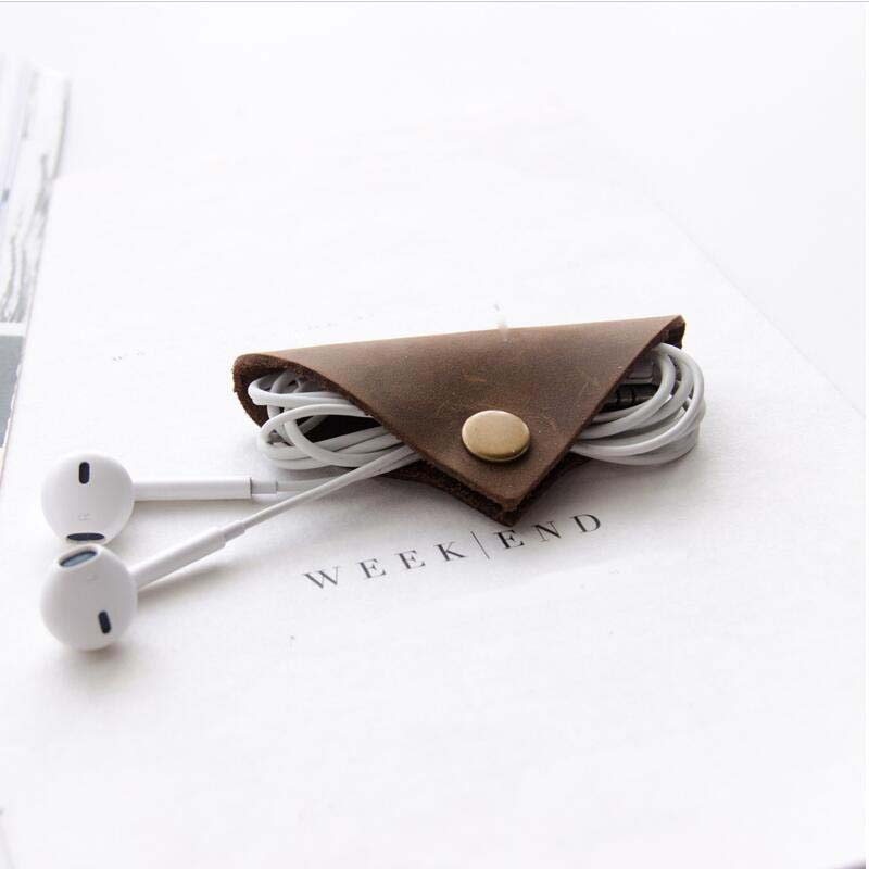 Genuine Leather Earphone Cable Holder - Wire Organizer